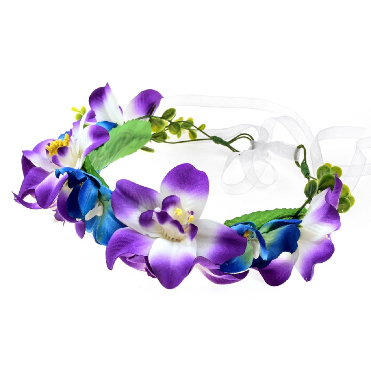 Love Sweety Lily Flower Crown with Adjustable Ribbon for Wedding HH9 (1# Mix Purple)