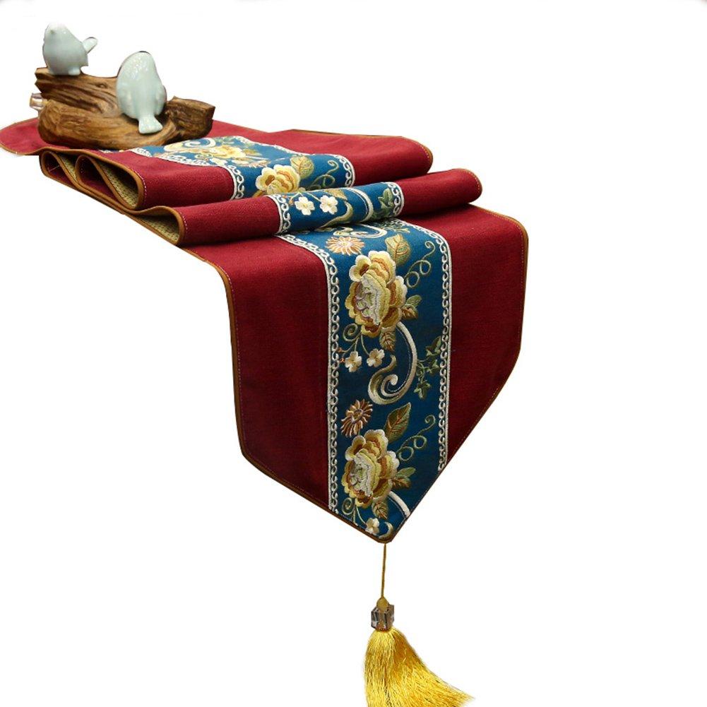 JIANFEI テーブルランナー 綿花 刺繍 柔らかい クラシック タッセル、 8色、 4サイズあり (色 : A, サイズ さいず : 38*270 cm) 38*270 cm A B07D1RL5NY