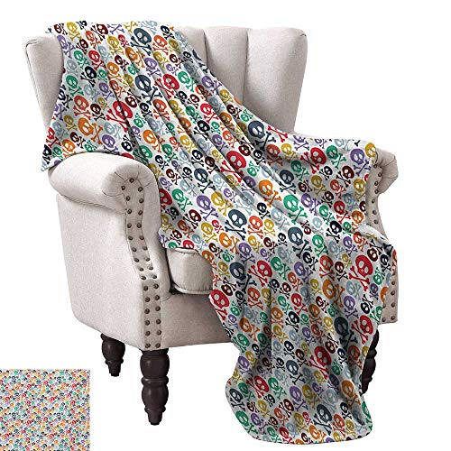Anyangeight Weave Pattern Extra Long Blanket,Halloween Themed Colorful Skulls and Crossbones Funny Cartoon Style Pattern Print 50