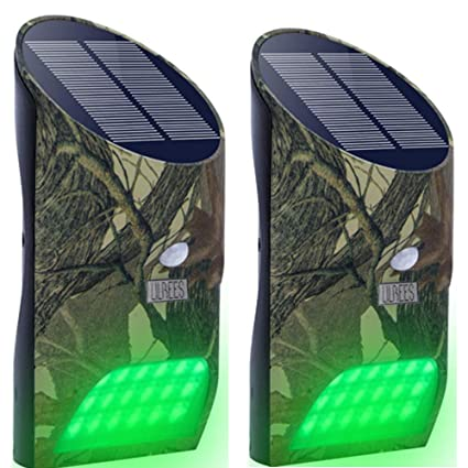 Lilbees Solar Green Feeder Lights with Motion Activated for Hog Pig Predator Coyote Varmint Deer Night