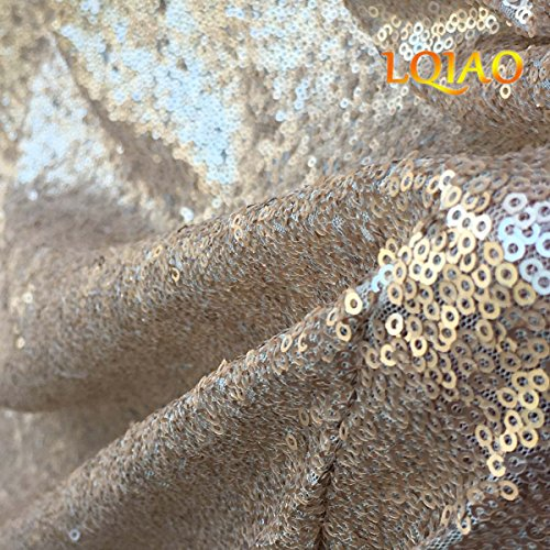 LQIAO Sequin Fabric Curtain Panels 50x63in-Champagne Shimmer Fabric Home Decoration Simple Pocket Style by LQIAO (Image #3)