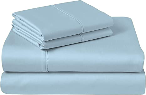 Amazon Com Cozeri 600 Thread Count Luxury Sheet Set 100 Cotton Breathable Soft Silky Sateen Weave Fits Mattress Upto 17 Deep Pocket 4 Piece Bed Sheets Set King Celestial Blue Home Kitchen