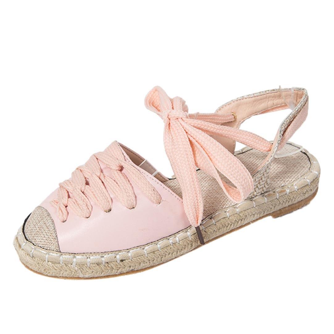 Été Soldes,Sandales Rose Taille, Plates,Chaussures,Escarpins, Vintage Mode Femmes Fond pour Plat Sandales Paille Lin Lacets Chaussures pour Femmes de Grande Taille, 34/35/36/37/38/39/40/41/42 Rose 02d3ca2 - reprogrammed.space