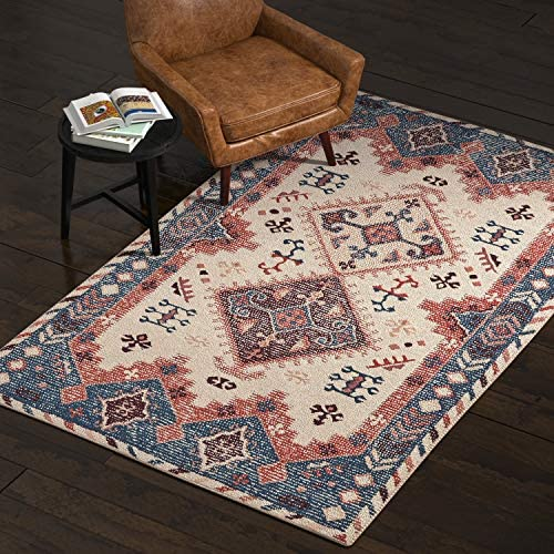 Amazon Brand Stone Beam Modern Distressed Vintage Persian Area Rug, 5 x 8 Foot, Multicolor