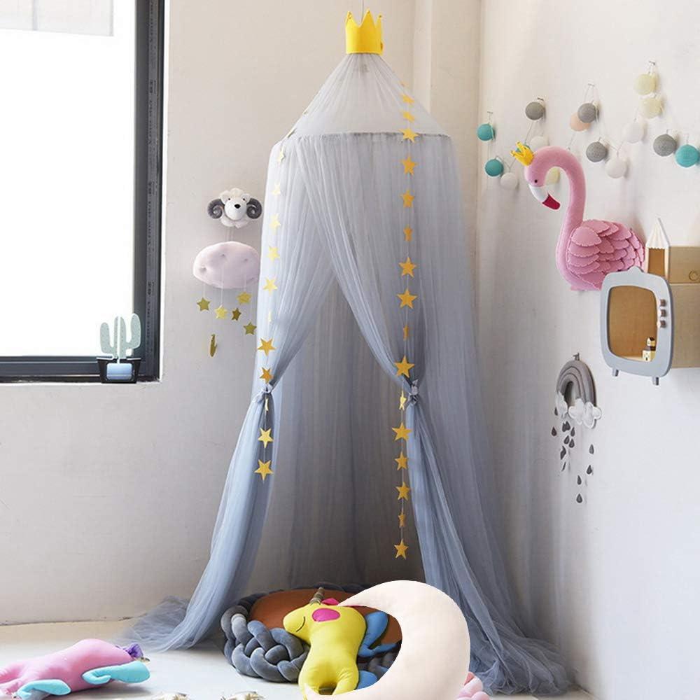 Hoomall D/écoration Chambre Moustiquaire Ciel de Lit Baldaquin Moustiquaire Tente Jeu Lecture pr B/éb/é Enfant R/épulsif pour Insectes Bonne Circulation dair 240cm Violet