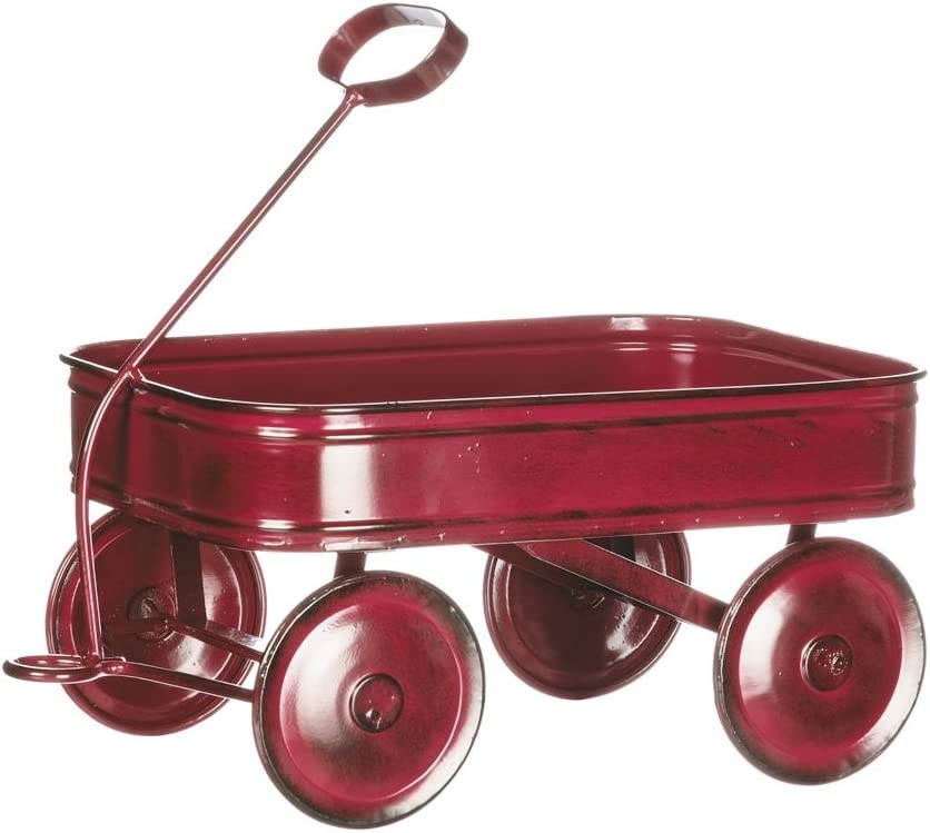 Sullivans Mini Vintage Style Red Metal Wagon 10.25""