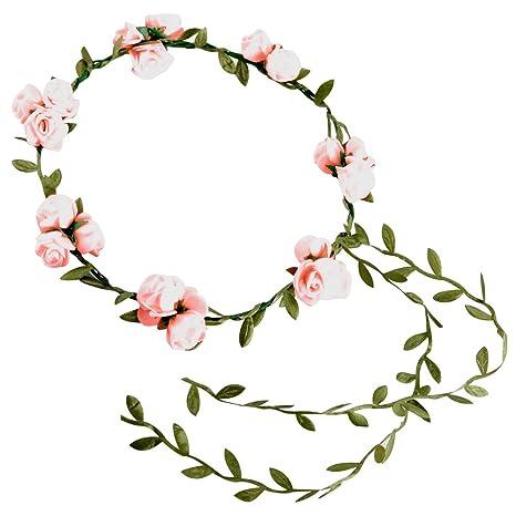 iShine Diadema Corona Flores para Cabello Guirnalda Flores Artificiales para el pelo Elegante Decoradas para Boda