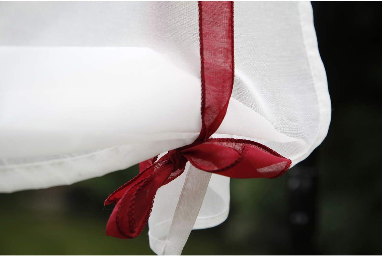 Bureau Cuisine SIMPVALE 1 pi/èce de Serrage /à Voilage Salle de Bain Broderie Store Bateau Abat-Jour Sheer Rideaux Tulle Panneaux Window Coque pour Chambre /à Coucher