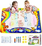 """Aqua Magic Doodle Mat, Large Colorful Water Drawing Mat for Kids/Toddlers Learning Painting Coloring, Educational Toy Gift for Boys Girls Age 2/3/4/5/6 Years Old, Outdoor Toy with Box, Size 34"""" x 22"""""""