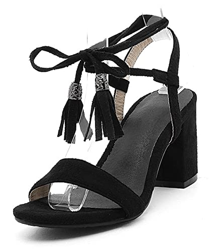 2550ddaea610b SHOWHOW Women's Trendy Faux Suede Chunky Mid Heel Self-Tie Summer Sandals Black  4 B