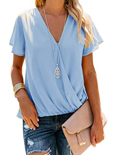 94ad51d72e3 Daomumen Women Semi-Sheer Chiffon Flowy Blouses V-Neck Wrap Short Sleeve  Shirts
