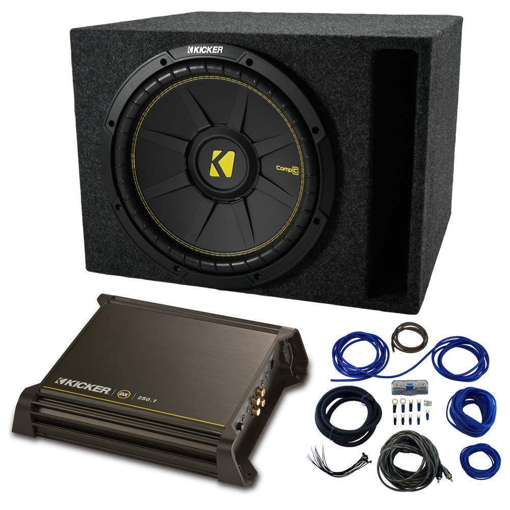 Single 12'' Kicker CompC Sub Package with Kicker 11DX250.1 Refurbished Amp & Vented Enclosure