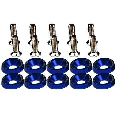 6 Sets Blue M6 x 18mm Engine Bay Fender License Plate Frame Bolt Screw