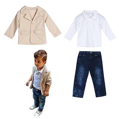 amazingdeal Baby Boys Gentleman Coat + Shirt +Denim Trousers Set Kids Clothes
