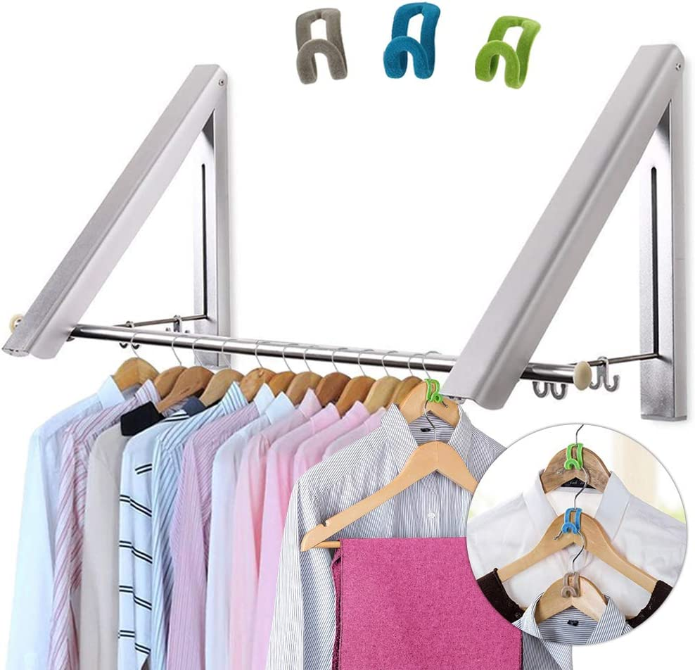 LIVEHITOP Wall Mounted Clothes Rack 2 Pcs, Folding Coat Hanger Dryer Hanging Rail Rod Wardrobe Hooks for Bathroom Balcony Indoor Outdoor