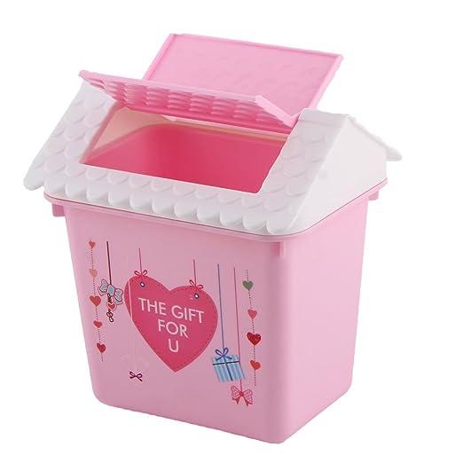 Rosa Bin DealMux coração padrão plástico Home Office Casa do lixo ...