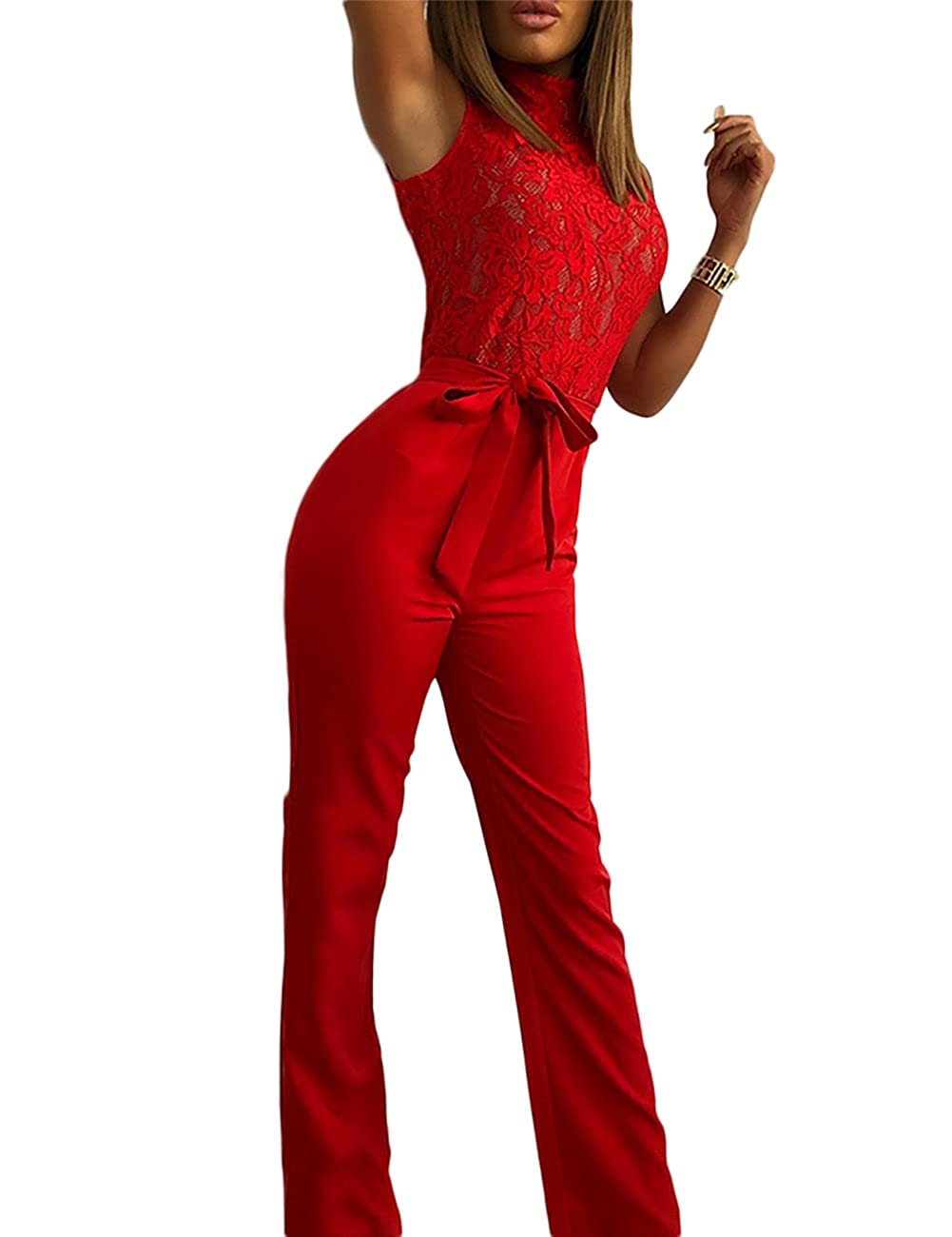 e9bc2a034eb Online Cheap wholesale Ninimour Women Sleeveless Lace Patchwork Belted Wide  Leg Jumpsuit Rompers & Overalls Suppliers