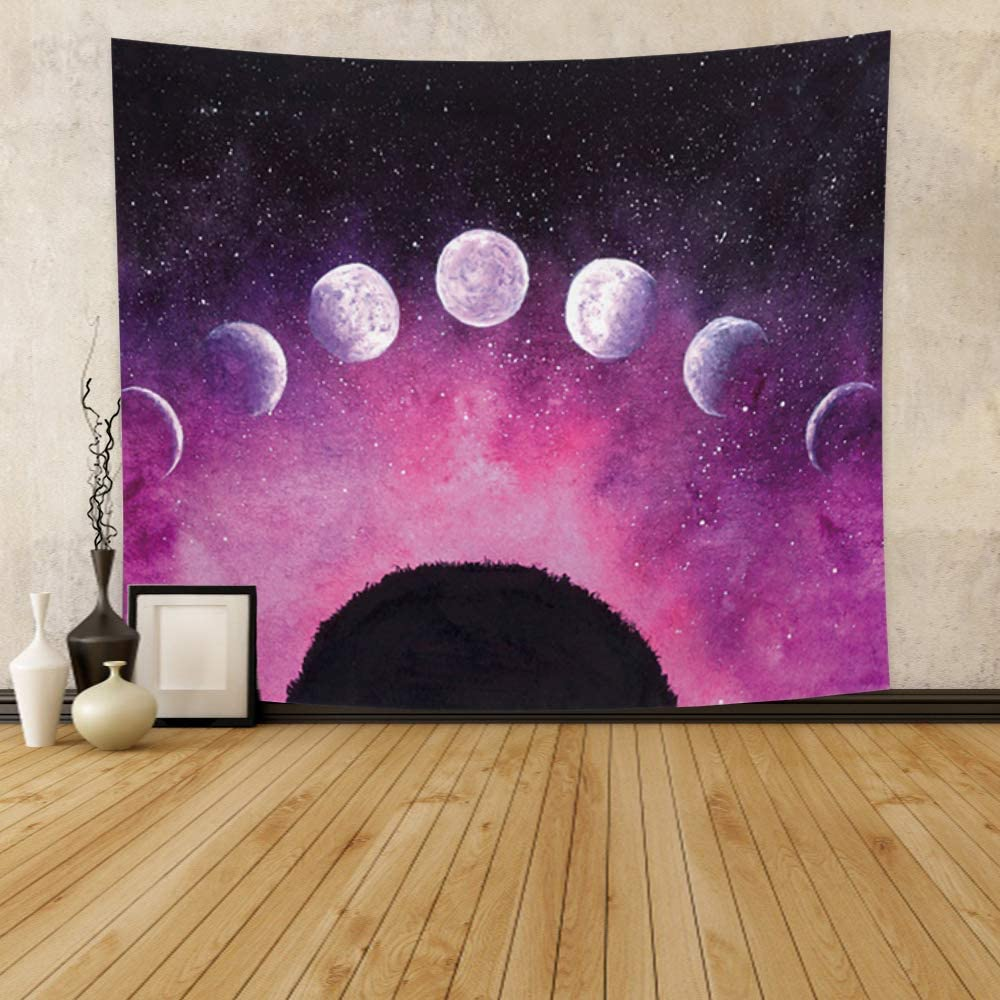 Qinunipoto Moon Phase Change Tapestry Cartoon Moonlit Mysterious Starry Sky Tapestry Wall Hanging Plants Purple Galaxy Wall Decor for Teen Girls Living Room Bedroom Home Decor Polyester 59x51inch