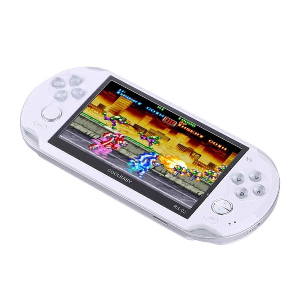 Handheld Retro Game Console,Leezo 1PC X9 Rechargeable 5inch 8G Built-in Game Classic Portable Retro Game Player Support TV Output With MP3 Movie Camera Birthday Gift for Kid - White by Leezo (Image #1)