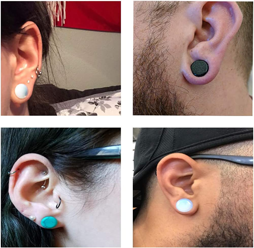 Oyaface 20//12pcs Double Flared Stone Ear Gauges Flesh Tunnels Plugs Stretchers Expander 10//6 Colors