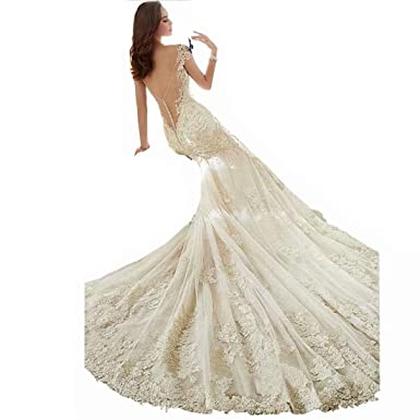 9a92b0d4bcb DingDingMail Tulle V-Neck Backless Mermaid Wedding Dress for Bride Long  Court Train Appliques Lace Wedding Dresses at Amazon Women s Clothing store