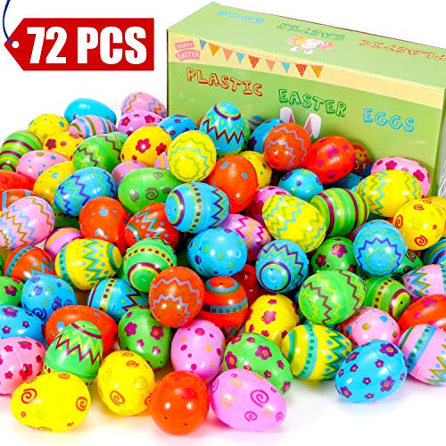 (Sizonjoy 72 Pcs Plastic Easter Eggs for Easter Hunt Decorations,2.36'' Tall Printed Colorful Plastic Eggs,Perfect for Classroom Prizes,Party)
