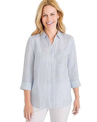 65ab5e5e39459 Chico s Women s No-Iron Linen Shirt at Amazon Women s Clothing store