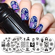 Nail Art Stamp Template BeaTea 5Pcs Festival Valentine Halloween Christmas Round Nail Image Stamping Plate