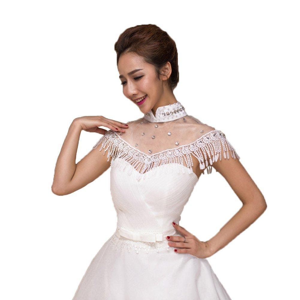 Floyoung Illusion Beads Short Cap Sleeve Wedding Shawl Wrap 2016