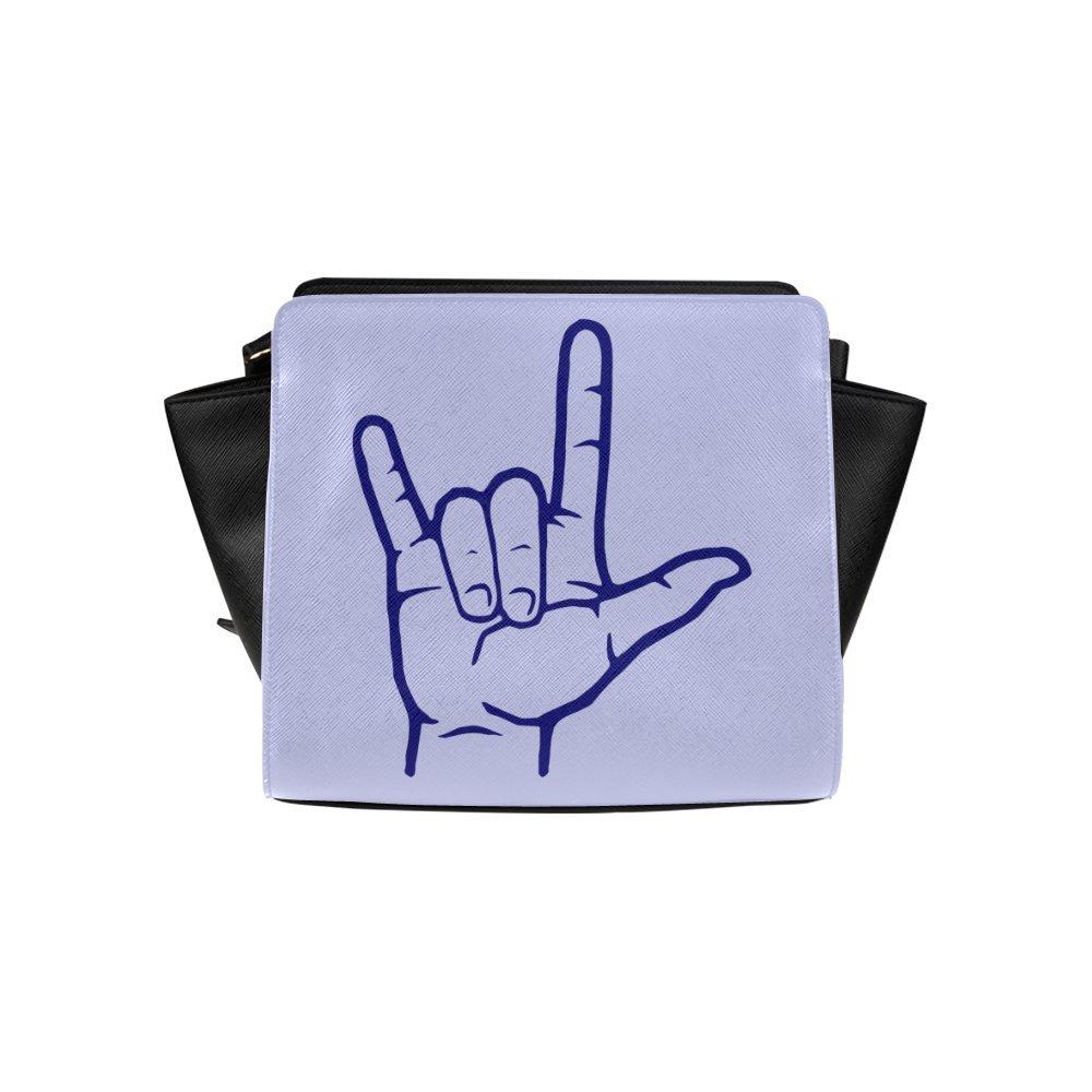 Custom Navy Asl I Love You High-grade PU leather Woman Top Zip Satchel Handbag/Shoulder Bag/Tote Bag For Women Girls SP-277