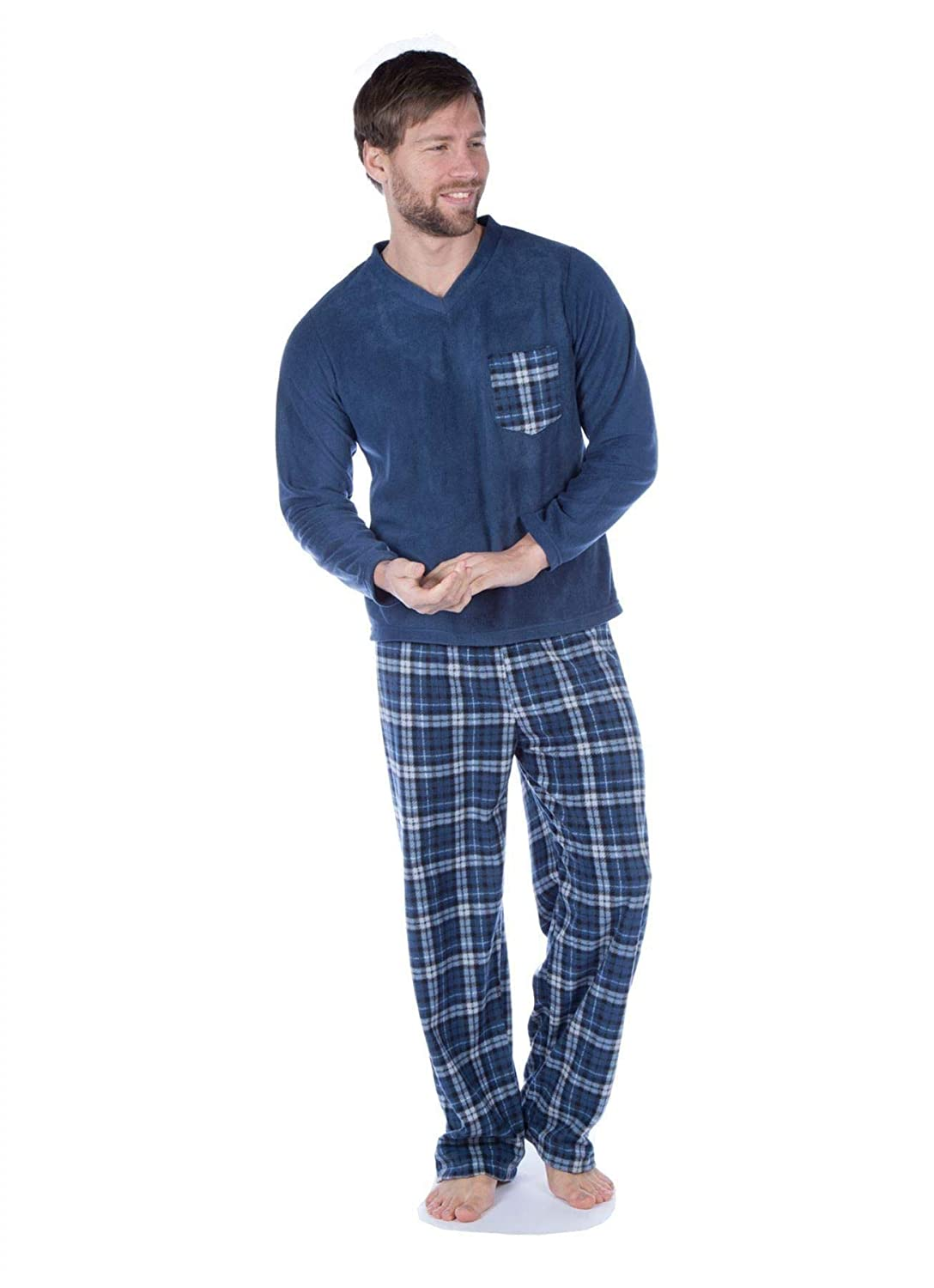 Harvey James Mens Fleece Pyjama Set V Neck Check Pocket Heritage Lounge Wear PJs Does not Apply