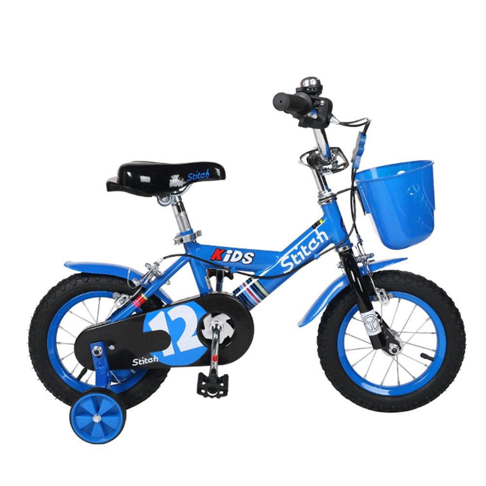 Lesute(ラシュット) 韓国風子供用自転車 バスケット付き 泥除け付き 補助輪付き 滑り止めハンドル付き 全3色 全3サイズ B01AJK32I2 12インチ|ブルー ブルー 12インチ