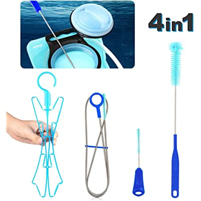 Kit de limpieza: kit de limpieza para vejiga de agua de hidratación, juego de limpiador 4 en 1 con cepillo largo flexible, cepillo pequeño, cepillo grande y colgador plegable