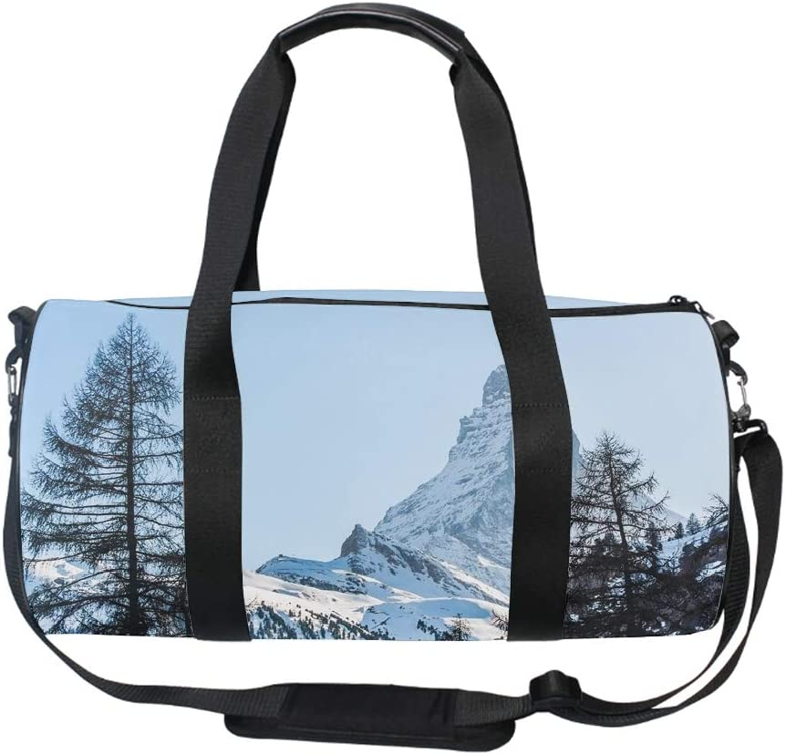 Snow Mountain Round Duffel Sports Bags Travel Gym Fitness Bag
