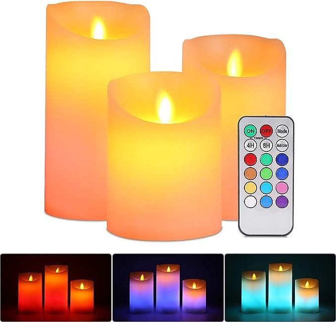 Set mit 6 wiederaufladbaren LED-Farbwechsel-Flackernden flammenlosen X2B3