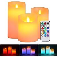 ALED LIGHT Velas de LED sin Llama, Pack de 3 Blanco Cálido más Multicolores Velas Electricas de Cera Reales con Mando a…