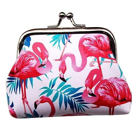 YHUJH Home Monedero Mujer Señora Retro Encantador Flamingo ...