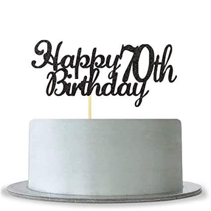 Amazon WeBenison Happy 70th Birthday Cake Topper Black Glitter