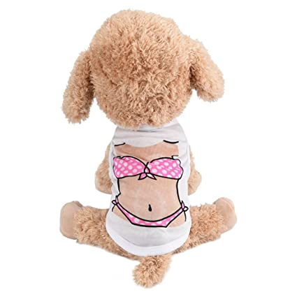 2c2b6f14b495 Wakeu Dog Clothes Puppy Vest Muscle Bikini Pattern T-shirt Pet Summer  Apparel for Small