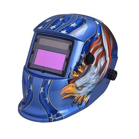nuzamas funciona con energía solar auto oscurecimiento soldadura casco máscara de soldadura azul Eagle cara protección ...