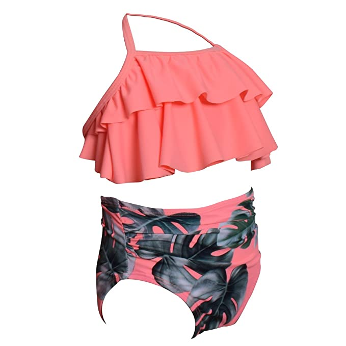 21241d02e7 Amazon.com  Qunlei Mommy and Me Swimsuits Family Matching Two Pieces High  Waisted Bikini Set for Women Girls  Clothing