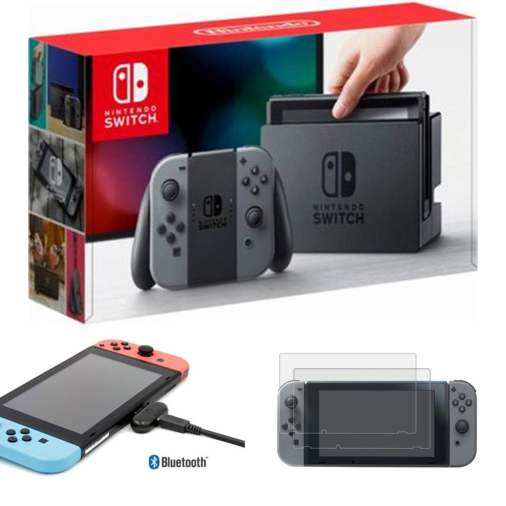 Nintendo Switch 32 GB Console with Gray Joy Con (HACSKAAAA) with Tempered Glass Screen Protector Switch 2017 2-Pack & Nintendo Switch USB Type-C Bluetooth Audio Transmitter