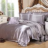 Silver Gray Silk Bedding Set Duvet Cover Silk Pillowcase Silk Sheet Luxury Bedding, Queen Size