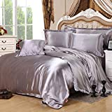 Silver Gray Silk Bedding Luxury Bedding Silk Duvet Cover Set Silk Duvet Cover Silk Pillowcase, Twin Bedding