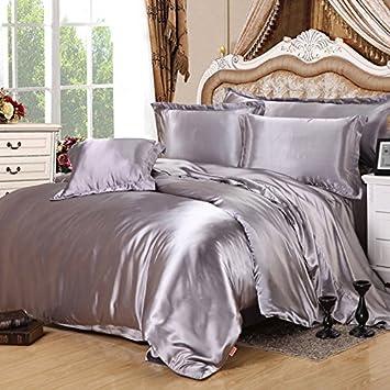 Wonderful Silver Gray Silk Bedding Set Duvet Cover Silk Pillowcase Silk Sheet Luxury  Bedding, Queen Size