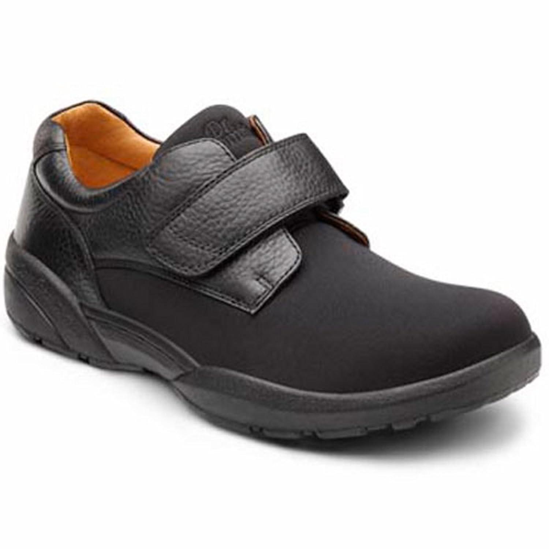 Dr. Comfort Brian Men's Therapeutic Diabetic Extra Depth Shoe lycra velcro 9.5 X-Wide (3E/4E) US Men Black