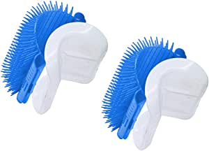 TabEnter Cat Self Groomer with Catnip,Grooming Brush,Wall Corner Massage Comb,for Long & Short Fur Cats/Dogs,Helps Prevent Hairballs and Controls Shedding (2-Pack Light Blue)
