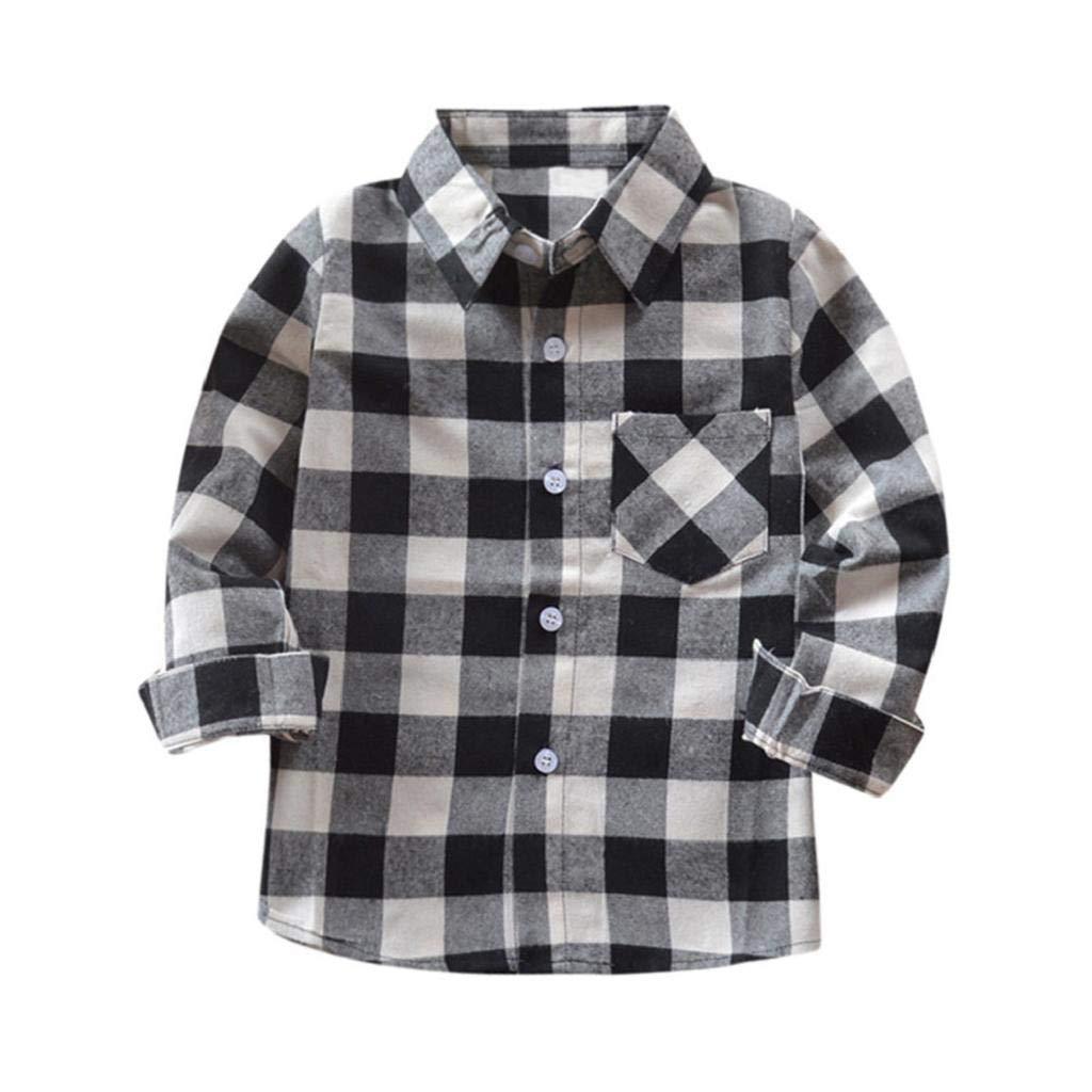 SAKAMU-Kids Boys Girls Long Sleeve Cotton T Shirt Checks Tops Blouse Clothes Outfits
