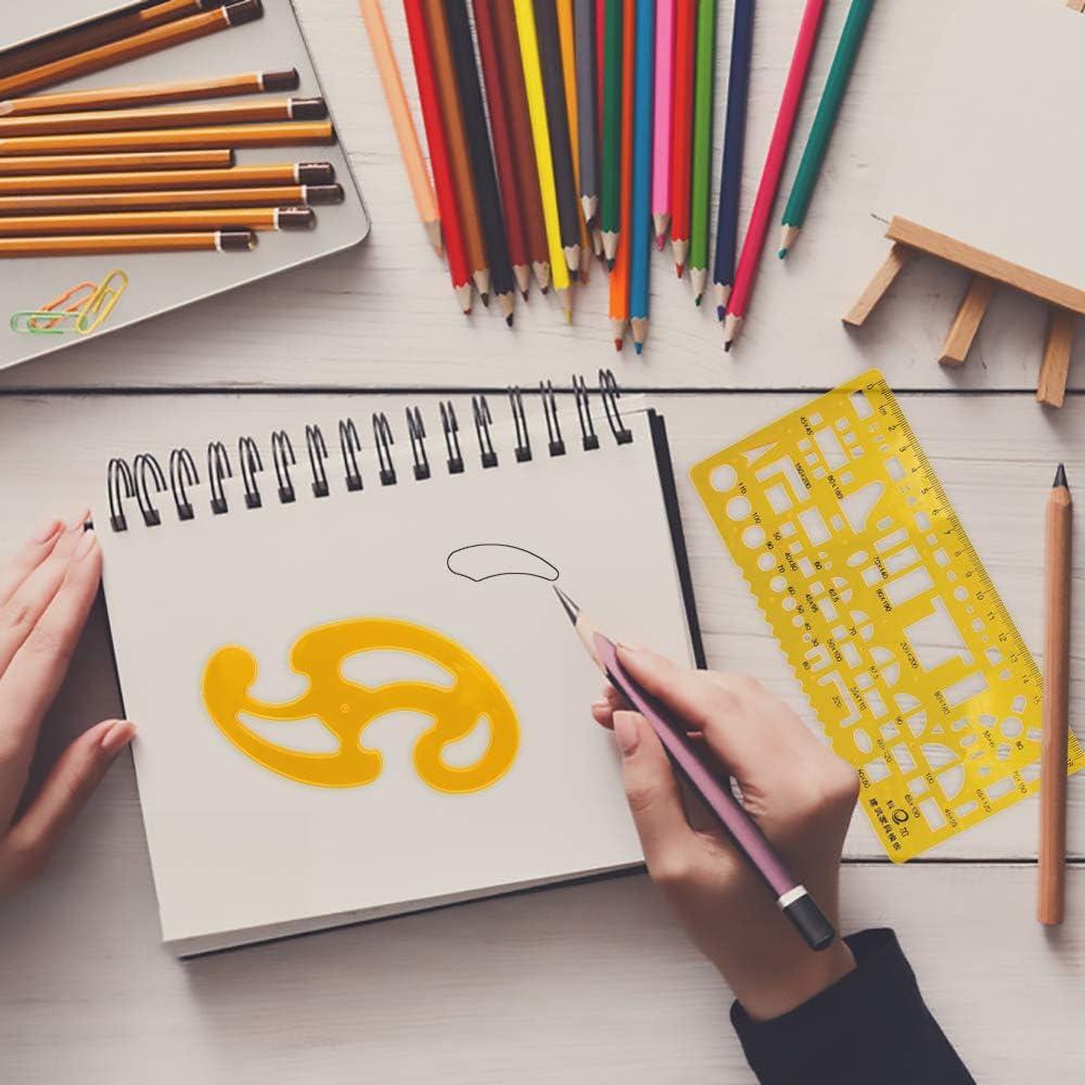 5Pcs YLX Pl/ástico Medida Regla Plantillas para Oficina y Escuela