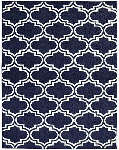 Garland Rug Silhouette Area Rug, 8 by 10-Inch, Indigo/Ivory
